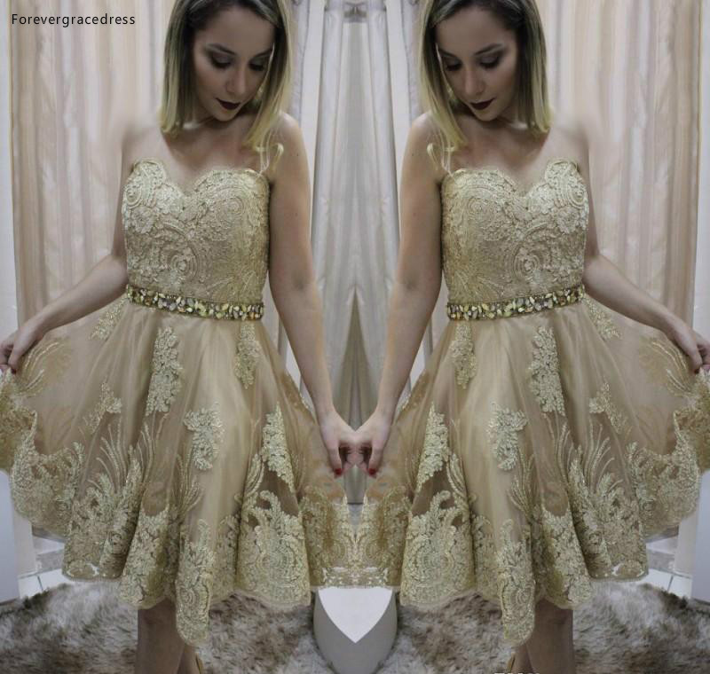 2019 Cheap Gold Appliques Short Homecoming Dress A Line Sweetheart Juniors Sweet 15 Graduation Cocktail Party Dress Plus Size