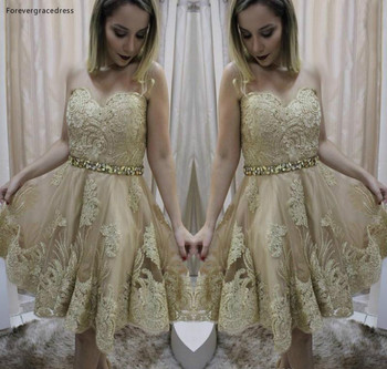 2019 Cheap Gold Appliques Short Homecoming Dress A Line Sweetheart Juniors Sweet 15 Graduation Cocktail Party Dress Plus Size фото