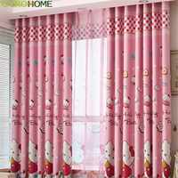 Cute Lovely cat Cartoon Printed Curtains for Kids Baby Children Bedroom Living Room Curtain Drapes