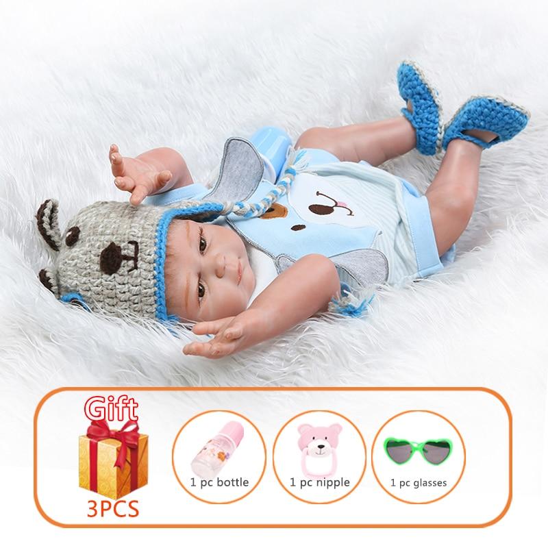 NPK 50cm Reborn bébé poupée jumeaux avec chiot Simulation bébé poupée Silicone poupées Reborn bambins jouets pour enfants