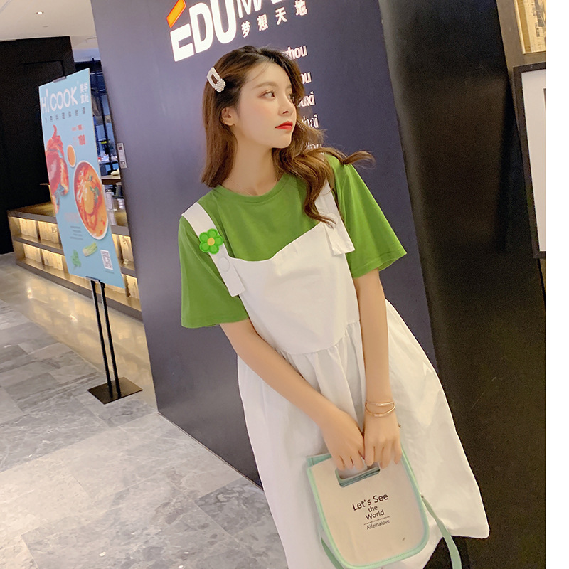 Customizable Photo Shoot Avocado Green Set 2019 Summer New Style Tops + Strap Dress-Style Two-Piece Set F7373