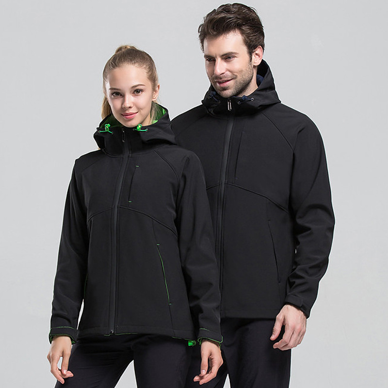 Autumn And Winter COUPLE'S Outdoor Warm Soft Cover Single Raincoat Jacket Men And Women Elasticity Fleece Windproof Waterproof C