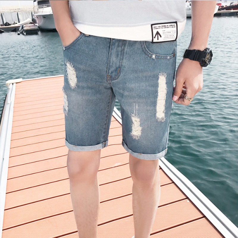 Summer Men With Holes Casual Denim Shorts Thin Slim Fit Pants Men's Korean-style Trend Men's Trousers