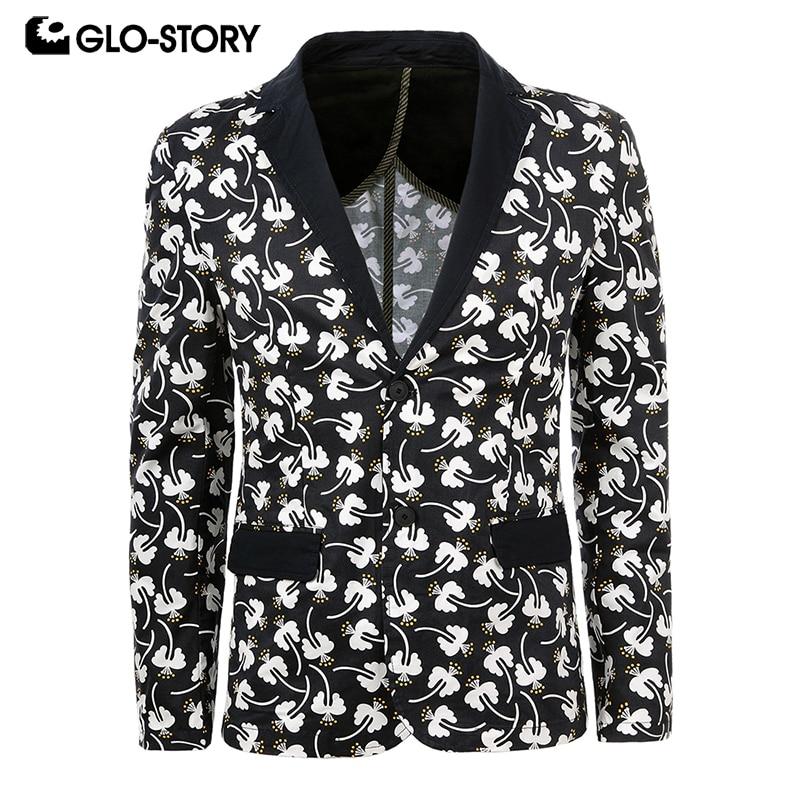 GLO-STORY Men's 2020 Fashion Style Men Blazer Costume Homme Coat Cotton Slim Fit Suit MXZ-6001