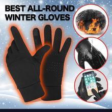 Zimowe ciepłe rękawiczki wodoodporne na każdą pogodę rękawiczki do obsługiwania ekranów dotykowych Unisex wiatroszczelne Outdoor Sport kolarstwo zagęścić rękawice termiczne tanie tanio Kaszmirowy Z pełnym palcem Uniwersalny cycling gloves Wodoodporna Weatherproof Dual layer of Warmth Skid-proof Scratch-proof