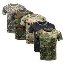 Быстросохнущая камуфляжная футболка, летняя мужская футболка с коротким рукавом, топы, уличные военные тактические боевые футболки для фит...