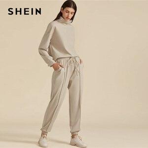 Image 4 - SHEIN kaki solide col haut sweat et cordon taille pantalon de survêtement ensemble automne vêtements actifs goutte épaule tenues décontractées