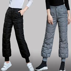 Зимние ветрозащитные хлопковые брюки для женщин 2020, свободные эластичные штаны-фонарики с высокой талией, удобные повседневные теплые брюк...