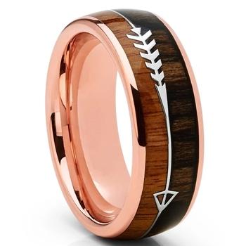 8MM mężczyźni pierścienie ze stali nierdzewnej drewno wkładka strzałka obrączka Charms Ring Finger dla mężczyzn biżuteria Party akcesoria do prezentów tanie i dobre opinie CN (pochodzenie) Ze stopu cynku Metal Klasyczny Obrączki ślubne ROUND Zgodna ze wszystkimi Poprawiające nastrój CU*0099