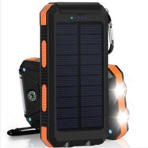 Внешний аккумулятор на солнечной батарее 20000 мАч, водонепроницаемый внешний аккумулятор 20000 мАч, зарядное устройство для телефона, светодио...