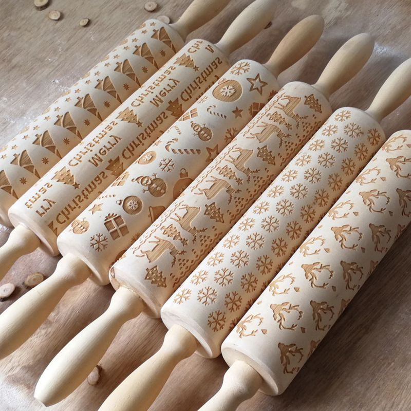 Christmas Elk Print Rolling Pin Wooden Products Used to Make Pasta Biscuits Pastries Pizza Kitchen Supplies-0
