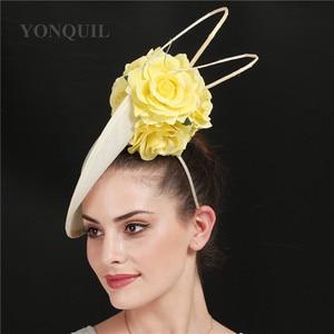 Image 2 - ゴージャスなkenducky大きな髪fascinatorsウェディングカクテル教会帽子エレガントな女性fedoraの女性ファンシー素敵なバラの花の帽子