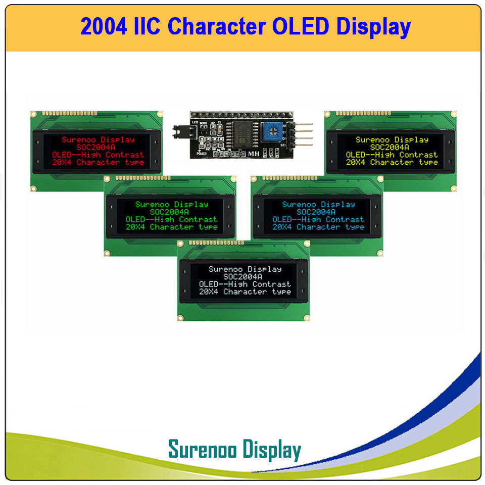 Real OLED Display, IIC/I2C/TWI 2004 204 20*4 Serial Character LCD Module Display Screen LCM