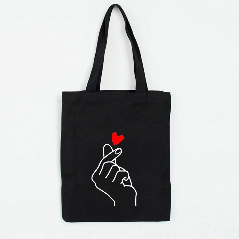 Heart Gesture Women Canvas Foldable Shopping Bag Cartoon Cotton Bag Female Handbags Tote Shoulder Shopper Bag Bolsa Feminina