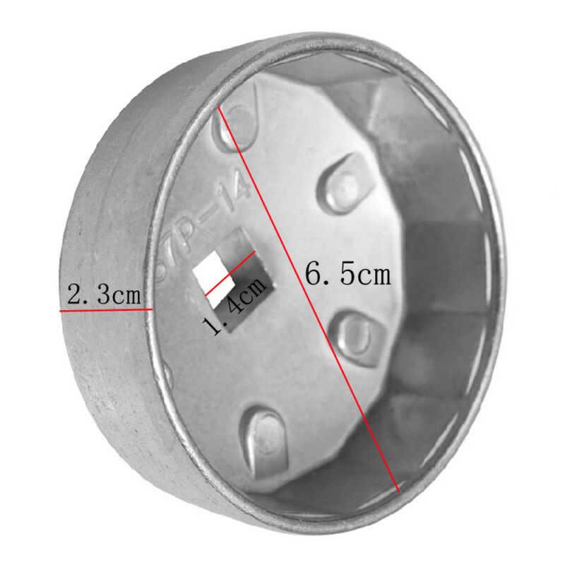 Llave de tapa de extracción de filtro de aceite 14 flautas 64,5mm-14 P aluminio No deslizante para los filtros de aceite de automóviles de Lexus Toyota