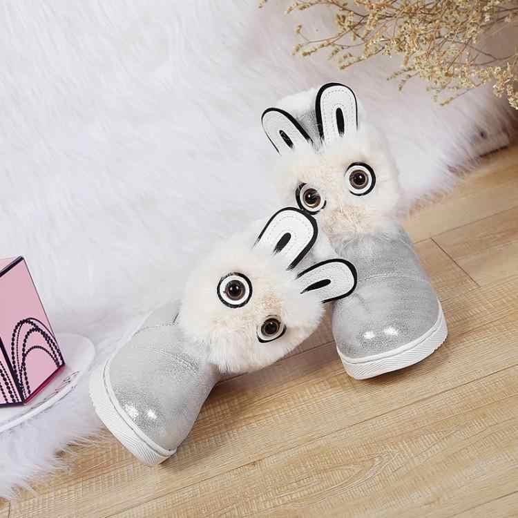 Vrouwen winter snowboots platte hak 2cm moeder kind pu comfortabele Kleine bunny ronde hoofd leuke warme Heldere kleur vrouwen schoenen
