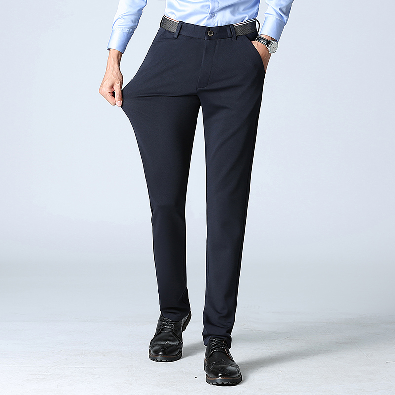 Casual pants men's spring and summer new business loose pants men's trousers slim Korean version of the trend straight black