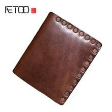 AETOO Men's handmade head-layer cowleather wallet, vintage personality trend money clip, short wallet