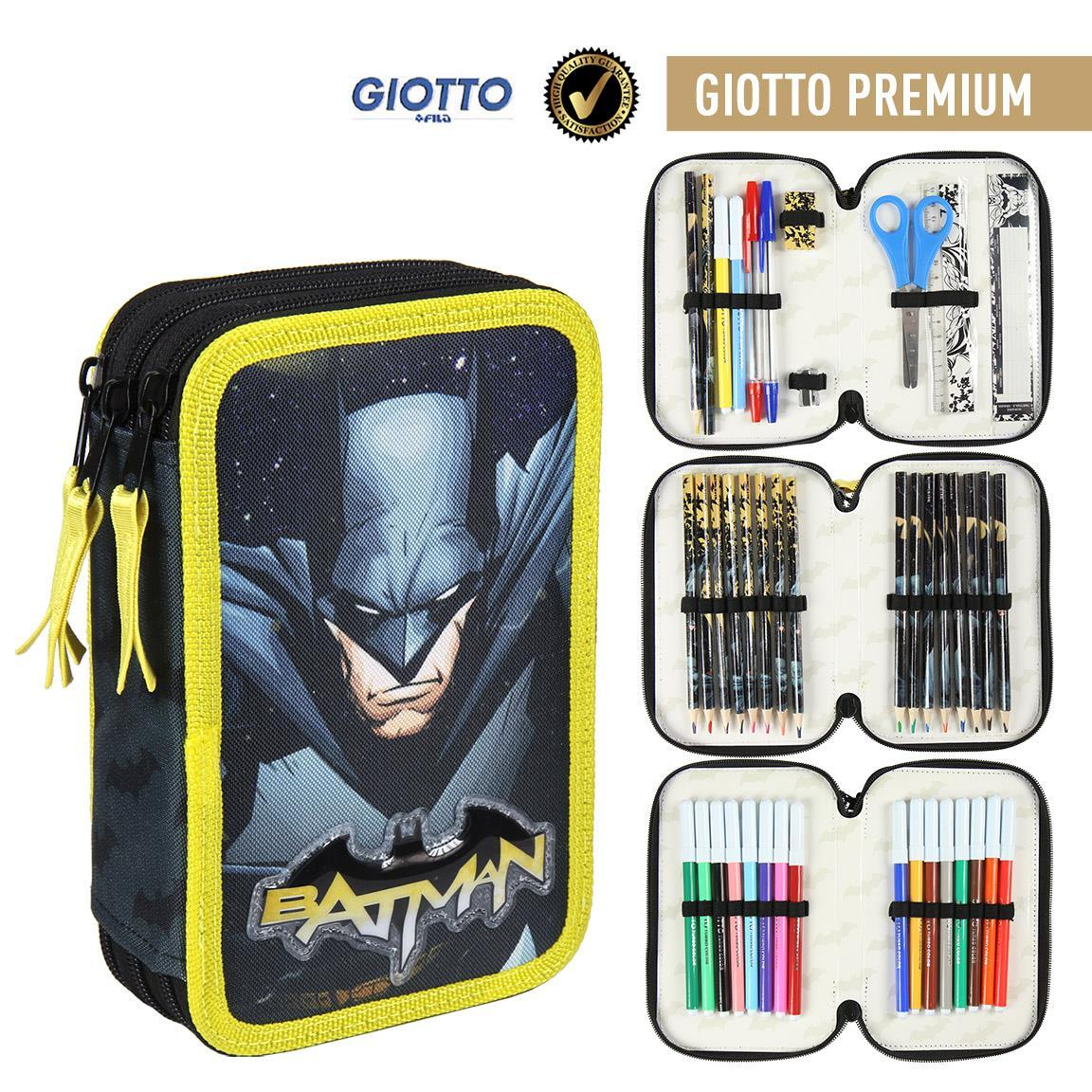 Plumier Triple Giotto Premium Batman Officially Licensed Children Gift Original