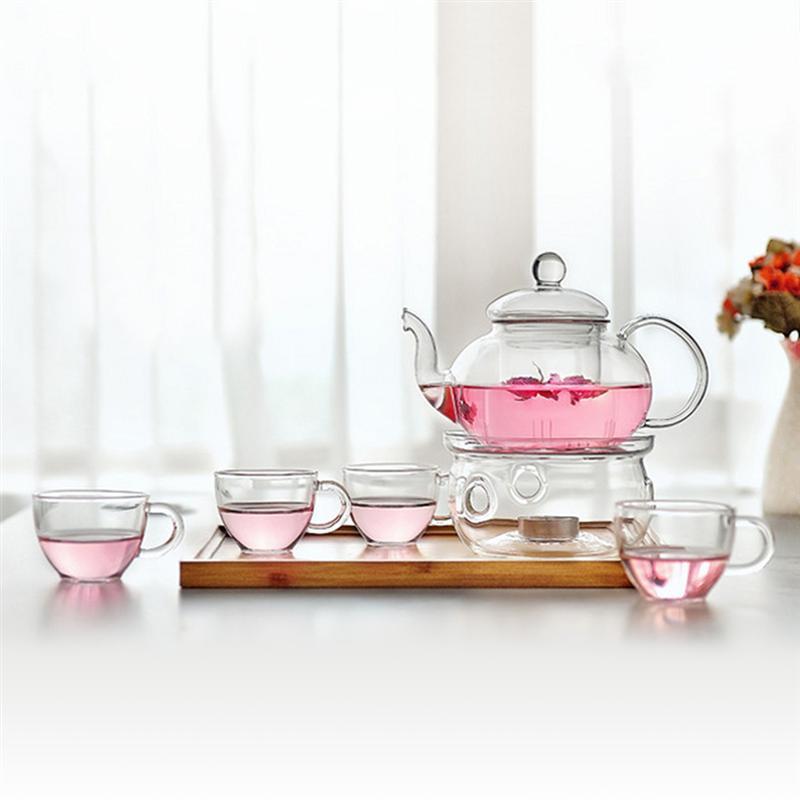 Drinkware 6pcs Clear Modern Flowers Tea Set Warmth Teaware Cups Tea Pot Kungfu Teaware for Lemon Drink / Hot / Iced / Fruit Tea