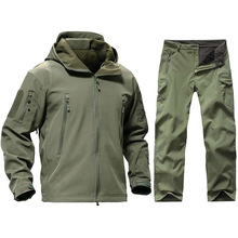 Tactical Softshell TAD Jacket Men Outdoor Camouflage Hunting Clothes Suits Military Uniform Hiking Camping Hooded Jacket + Pants men s tad shark softshell jacket outdoor warm hunting clothes sport jacket or pants camouflage military army suits for hiking