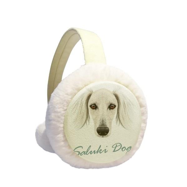 Long Face White Saluki Dog Pet Animal Winter Earmuffs Ear Warmers Faux Fur Foldable Plush Outdoor Gift