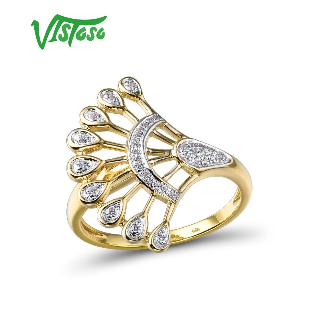 VISTOSO золотые кольца для женщин чистое 14K 585 Желтое золото сверкающие бриллианты обещают обручальные кольца юбилейные ювелирные украшения