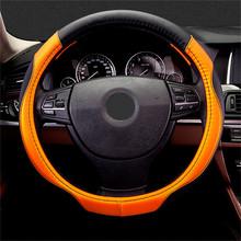 Kierownica samochodowa 38 Cm skóra ręcznie szyta PU skórzana osłona na kierownicę do samochodu pasuje do większości akcesoria do wnętrza samochodu stylizacja tanie tanio CN (pochodzenie) leather Kierownice i piasty kierownicy 650g Steering wheel Car Car Decoration 38cm 38cm in diameter