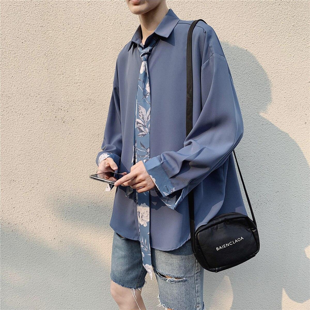 UUYUK Men Long Sleeve Button Down Stylish Wash Denim Work Dress Shirts