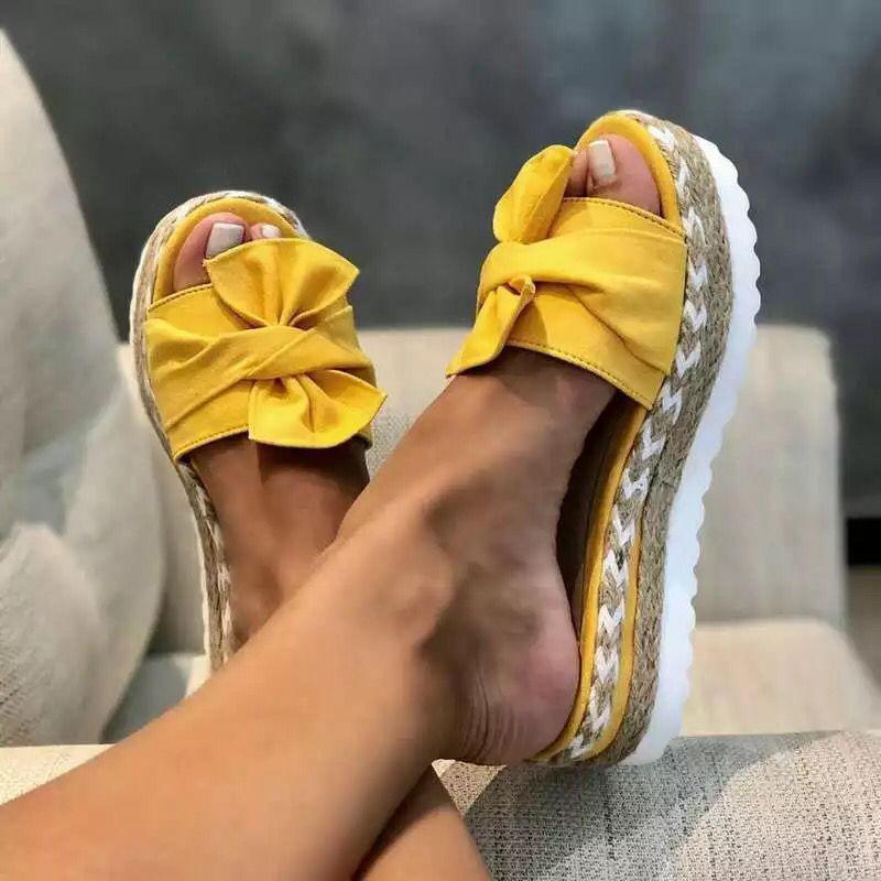 2020 Women Sandals Shoes Summer Flat Sandals Bow-Knot Comfort Retro Anti-Slip Beach Shoes Platform Slide Plus Size Zapatos Mujer