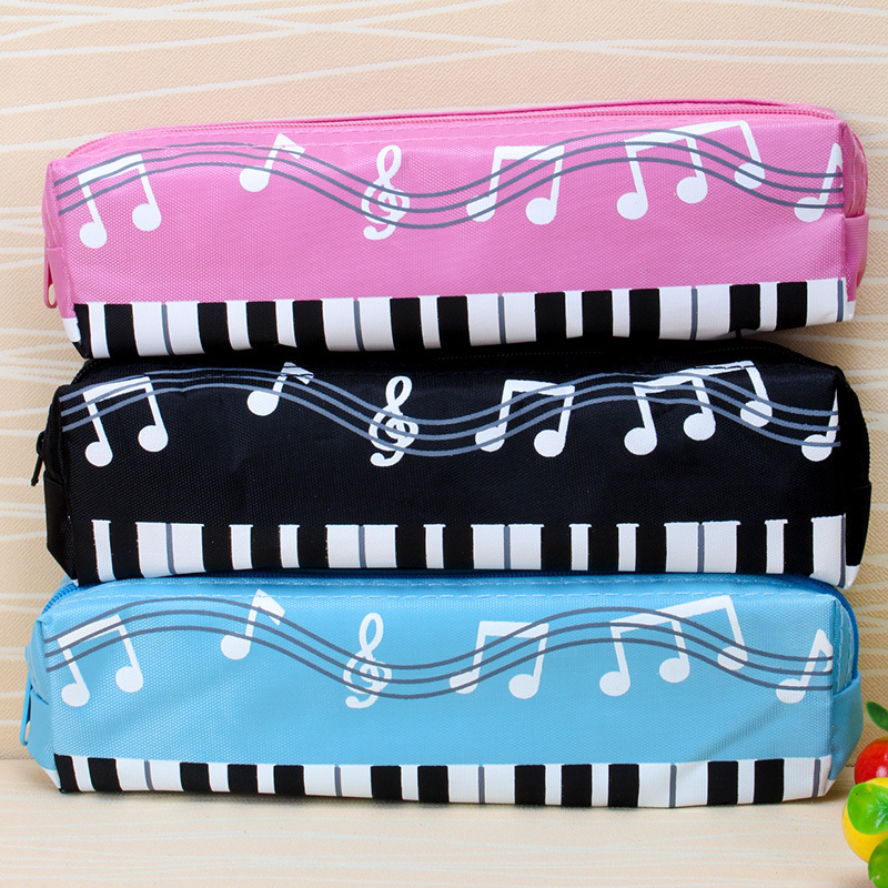 Piano Note Pencil Bag Primary School Stationery Small Pen Bag Single Layer Pencil Pouch Colorful Musical Pencil Cases Music Box