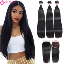 Hair Closure Non-Remy-Hair Straight-Bundles Queen Natural-Color Peruvian with Lace