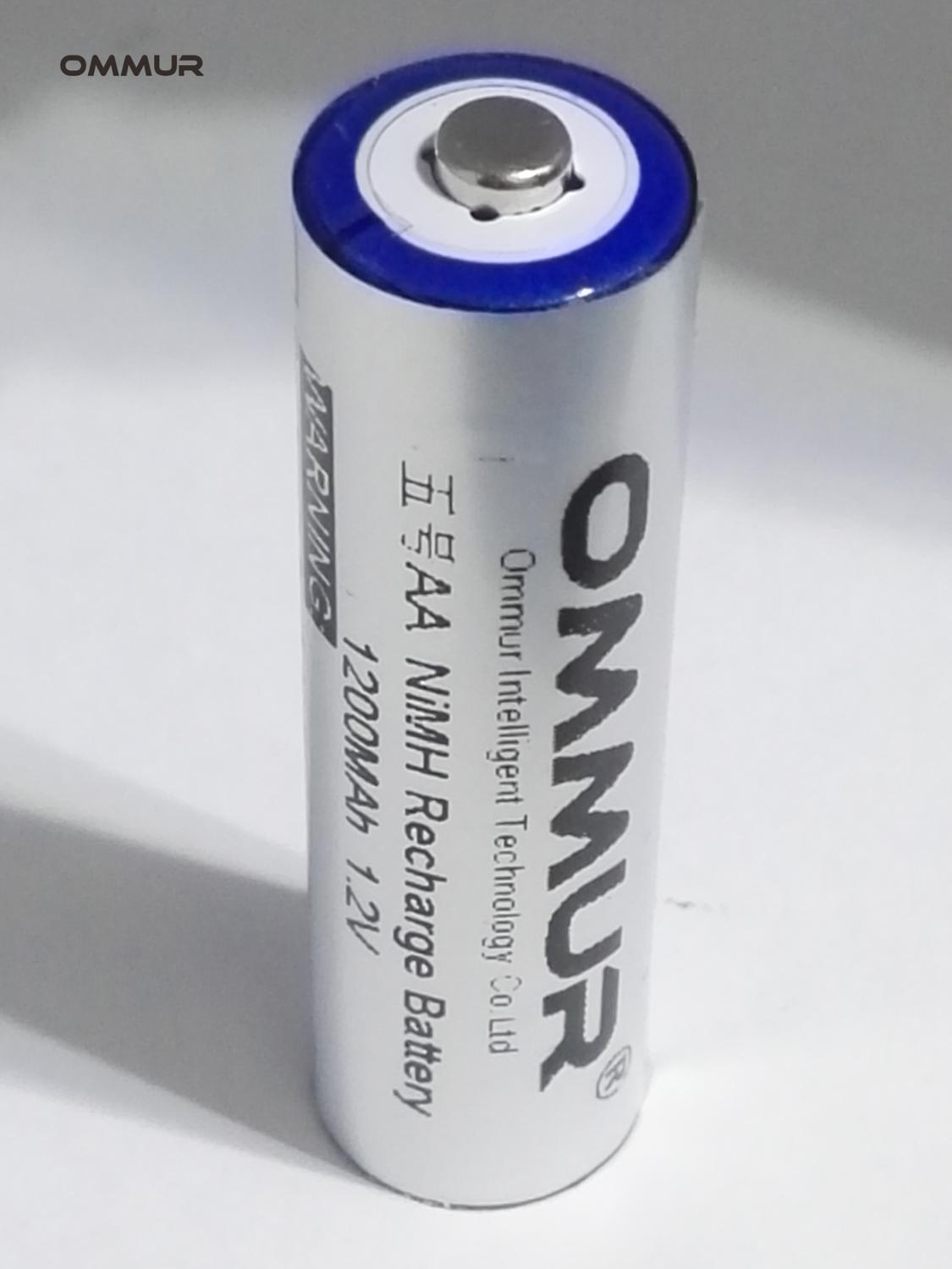 OMMUR <font><b>AA</b></font> <font><b>1.2V</b></font> <font><b>1200mAh</b></font> <font><b>NiMH</b></font> <font><b>battery</b></font> <font><b>Rechargeable</b></font> for flashlight headlamp electronic toy free shipping image