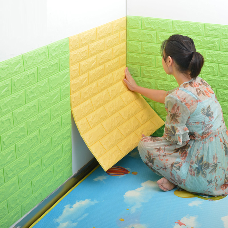 3D Wall Stickers Brick Pattern Waterproof Self Adhesive Wallpaper Room Home Decor For Kids Bedroom Living Room Stickers