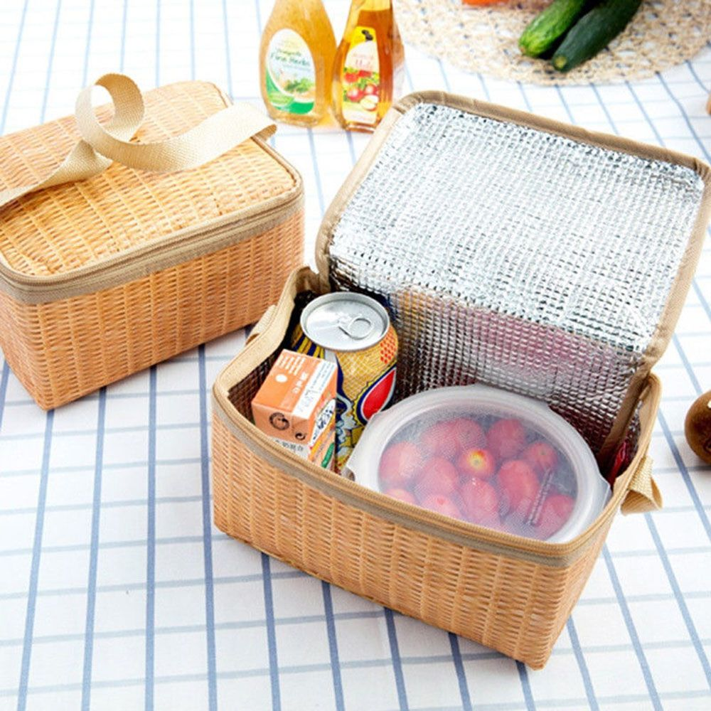 Portable Insulated Thermal Cooler Lunch Box Waterproof And Durable Lunch Bag Canvas Imitation Rattan Lunch Bag