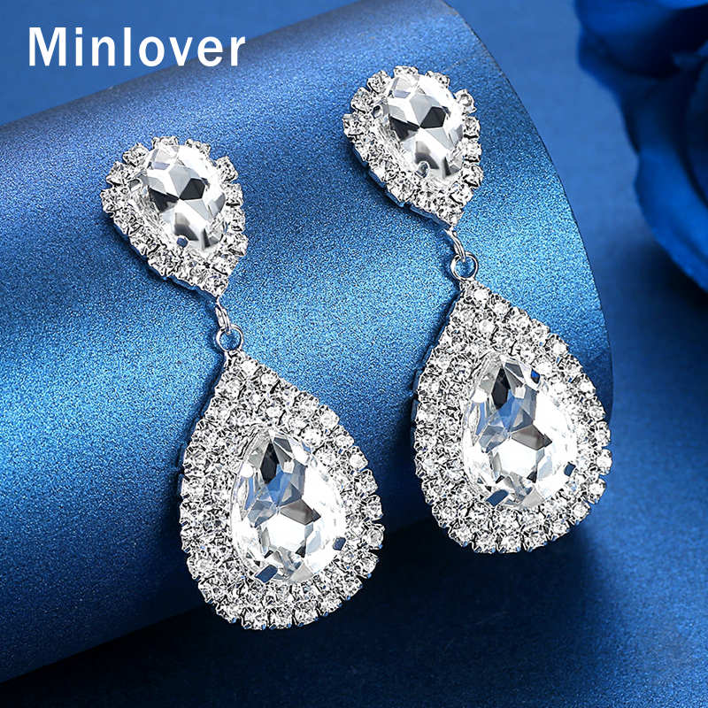 Crystal Silver Dangle With Mini Tear Drop Crystals Wedding Bridal Earrings