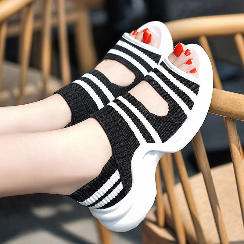 2020 New Elastic Surface Shallow Bottom Harajuku Style Thick Bottom Summer Flat Bottom Flying Woven Women's Shoes Sports Sandals