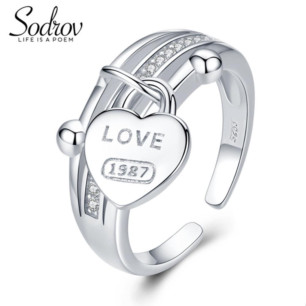 Sodrov Love 925 Sterling Silver Engagement Heart Ring For Women Valentine's Gift Fine Wedding Jewelry