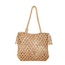 Summer Beach Hollow Out Tassel Totes Travel Causal Bags Pouch Women Straw Handbag