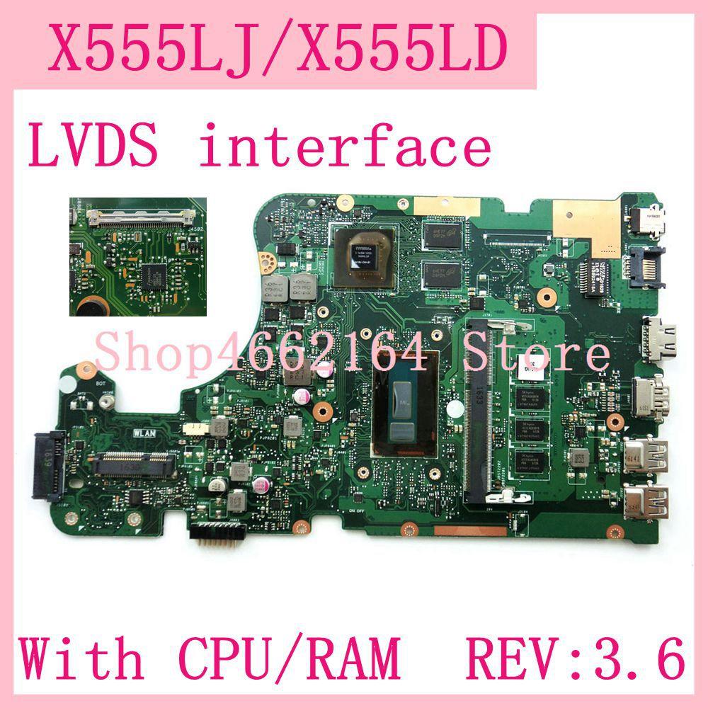 Материнская плата X555LJ с интерфейсом LVDS, 4 Гб ОЗУ, REV: 3,6, GT920M, для ноутбука ASUS X555L, A555L, K555L, F555L, W519L, X555LD, X555LJ