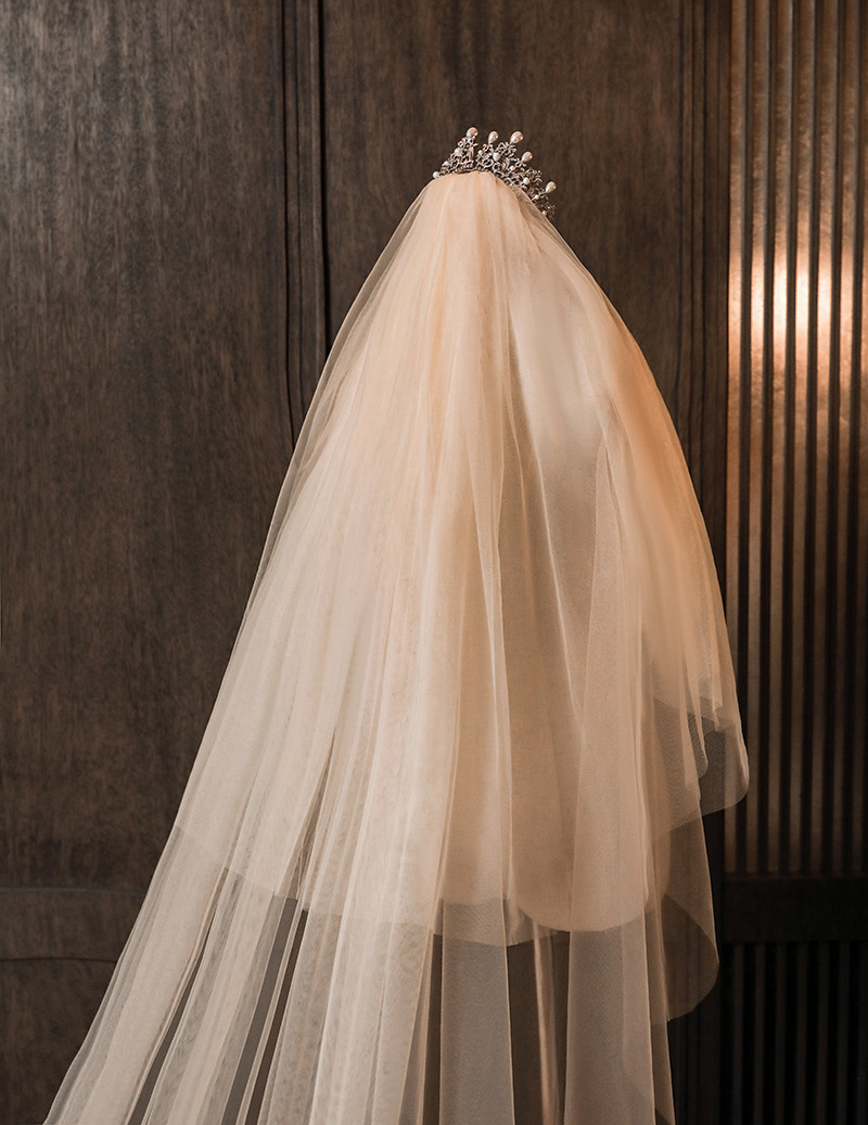 Wedding Veil 3 Meters Long Bridal Veils Big  Dispersed Ivory White Applique One-layer  Bride Wedding Accessories In Stock 2020