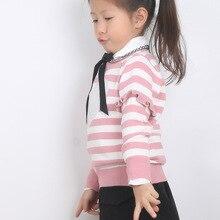 Новинка года; сезон осень-зима; топы; детская одежда; мягкий розовый вязаный пуловер в полоску с сердечками; свитер на шнуровке для девочек