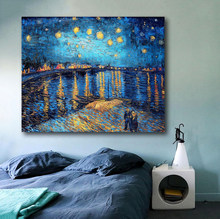 Laeacco Starry Night Rhone by Van Gogh Impression Scenery Famous Canvas Paintings Wall Art Pictures For Living Room Bedroom