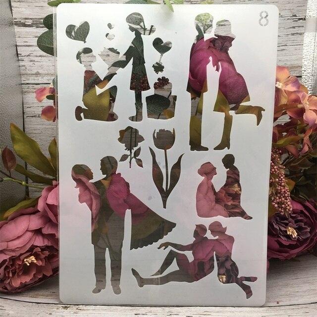 4Pcs/Set A4 Family Lover Children Parent DIY Layering Stencils Painting Scrapbook Coloring Embossing Album Decorative Template 3
