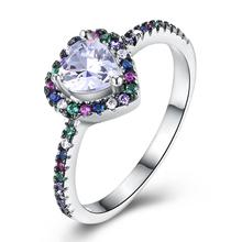 Модное дизайнерское кольцо с цветком в форме сердца для женщин, Радужный камень, серебряный цвет, Свадебные обручальные ювелирные изделия, Женское кольцо Anel