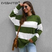 EVERAFTER Casual Stripe Print Women Sweaters Autumn Winter Fashion O-Neck Knitwear Loose Pullovers Jumper Oversized 2019