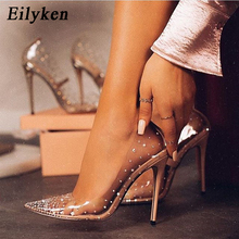 Eilyken Fashion Rhinestones PVC Transparent Pumps Stilettos High Heels Point Toe