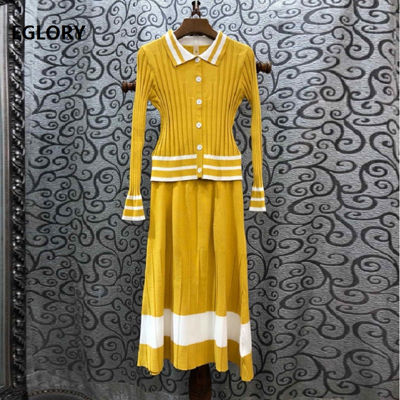 High Quality Sweater Suits & Sets 2019 Autumn Winter Knitwear Women Striped Pattern Pink Yellow Cardigans+Mid-Calf Skirt Set 2pc