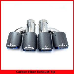 Image 1 - 1 H Phong Cách Bóng Carbon Thép Không Gỉ Đa Năng Dual Ống Thoát Khí Xanh Dương Cấp Đuôi Đầu Cho Bộ 3 Với remus Logo