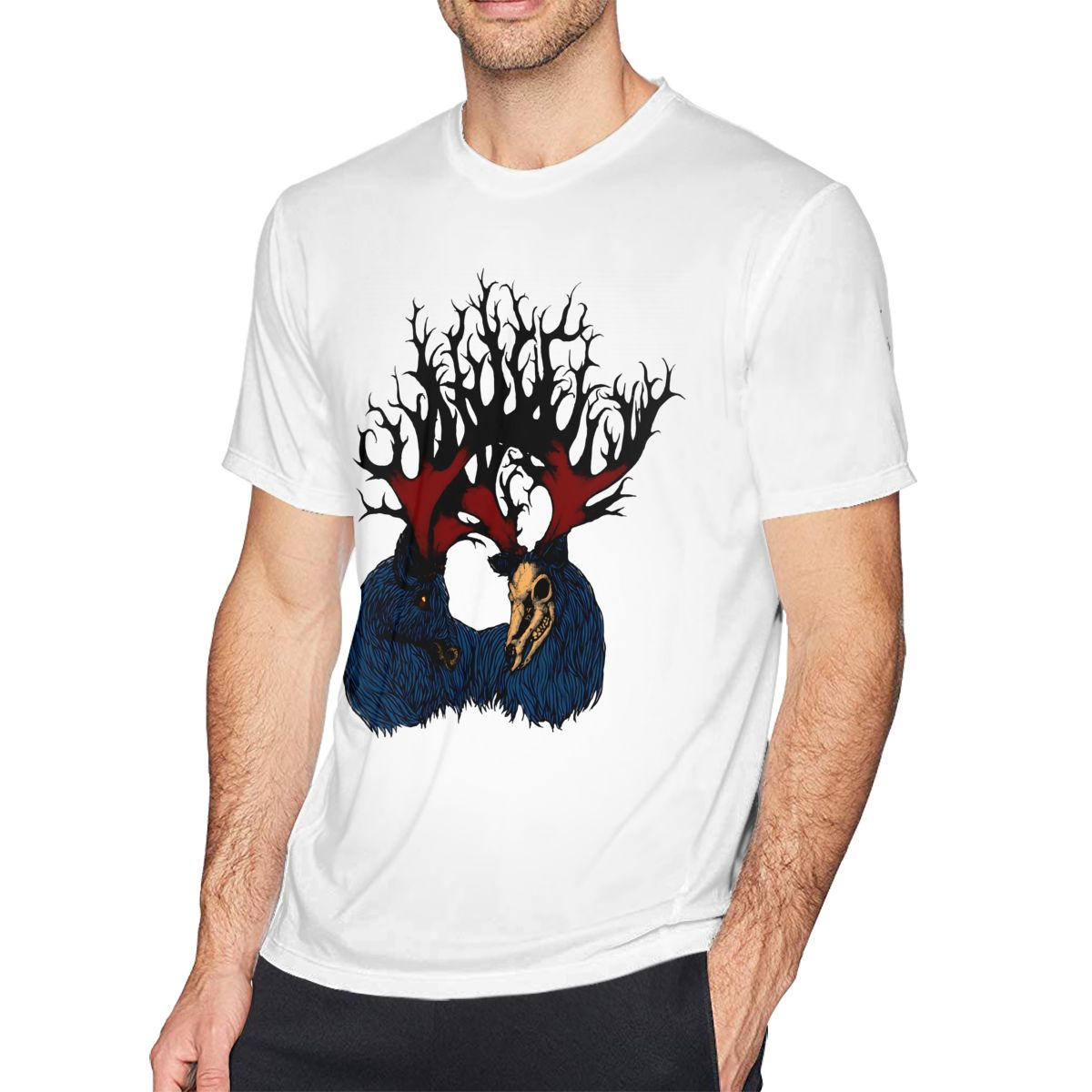 Deer T Shirt The Heart Of The Forest T-Shirt Men Classic Tee Shirt Printed Short Sleeves Plus size Tshirt